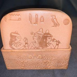Egyptian design embossed leather coaster set